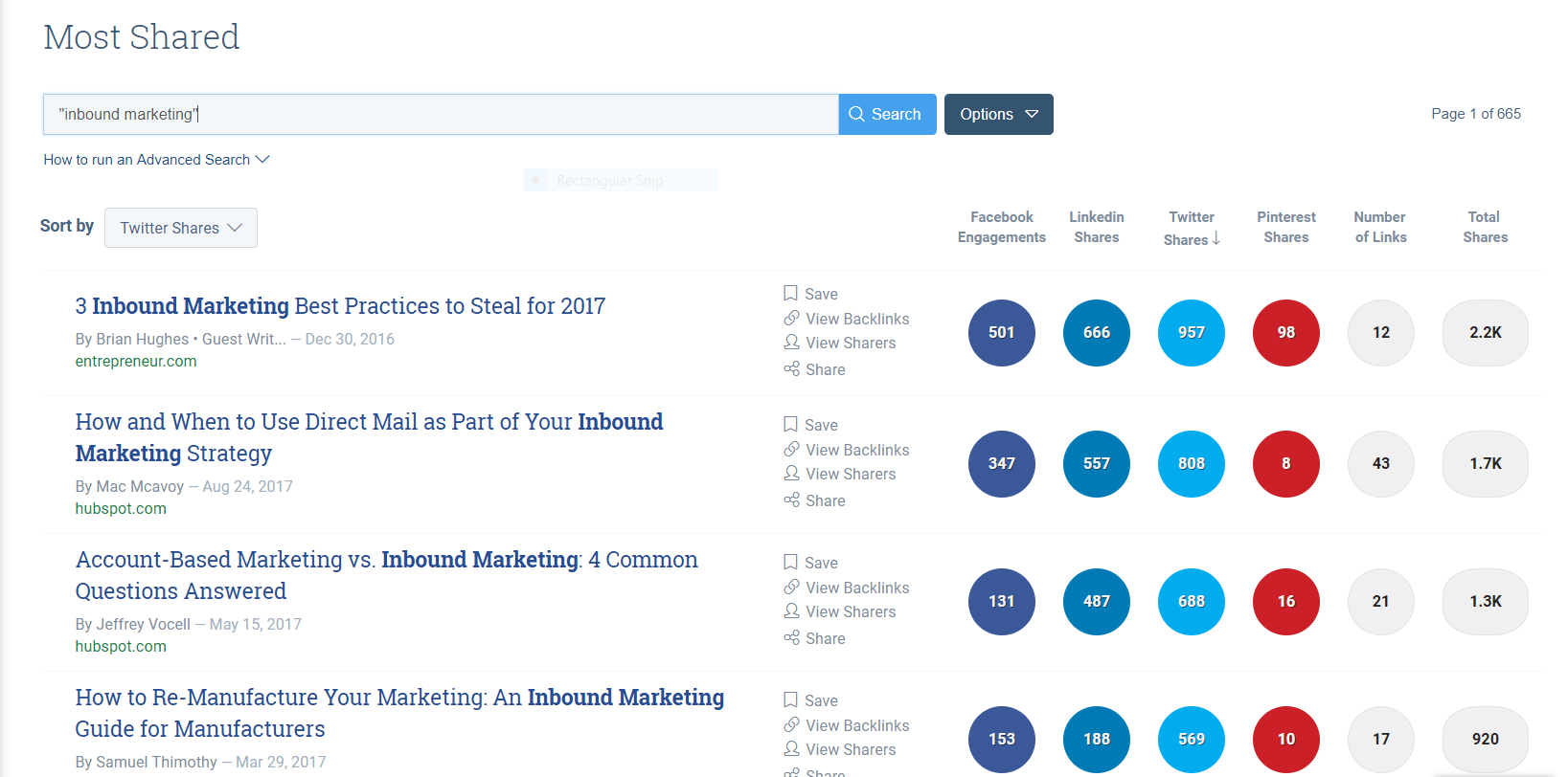 Using Buzzsumo to find twitter sharers