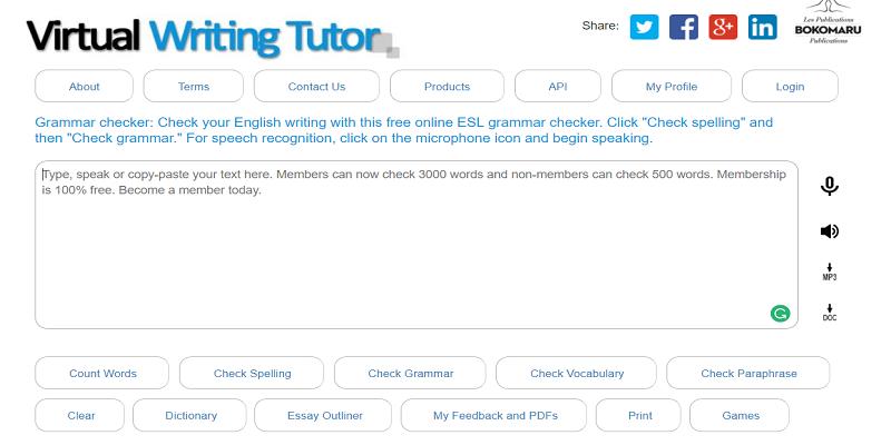 VirtualWritingTutor grammar checker