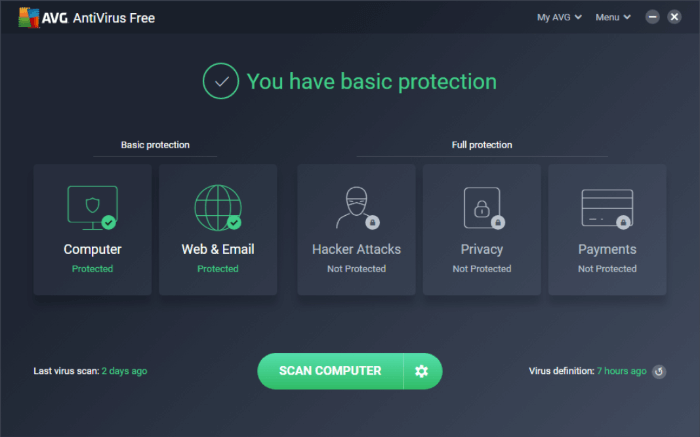 AVG User Interface 2020
