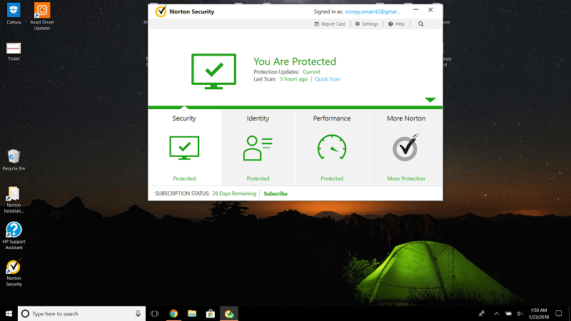 Norton's Interface as seen on Windows 10