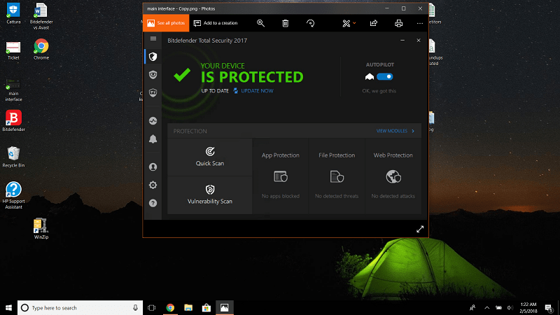 Bitdefender Interface as seen on Windows 10