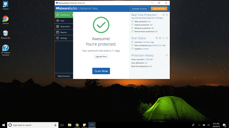 Malwarebytes Interface on Windows 10
