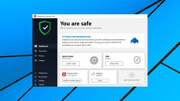 Bitdefender User Interface 2020