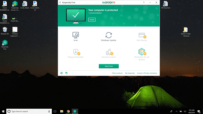 Kaspersky's interface as seen on Windows 10