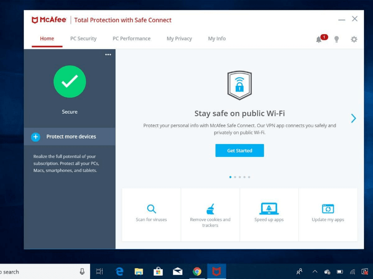 McAfee User Interface 2020