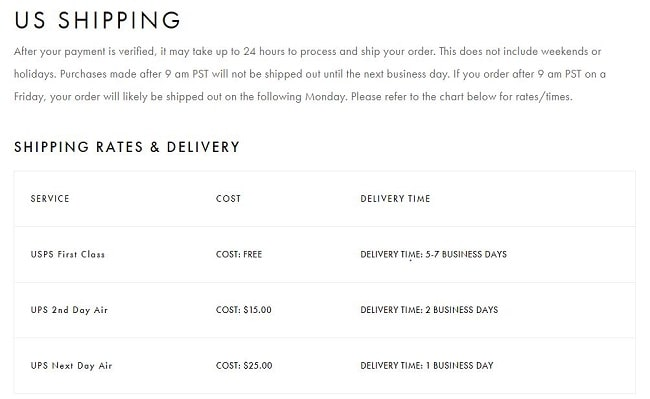 MVMT US Shipping Information