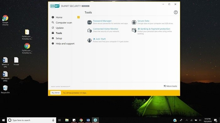 ESET User Interface as seen on Windows 10