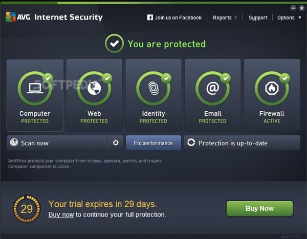 AVG Internet Security Interface