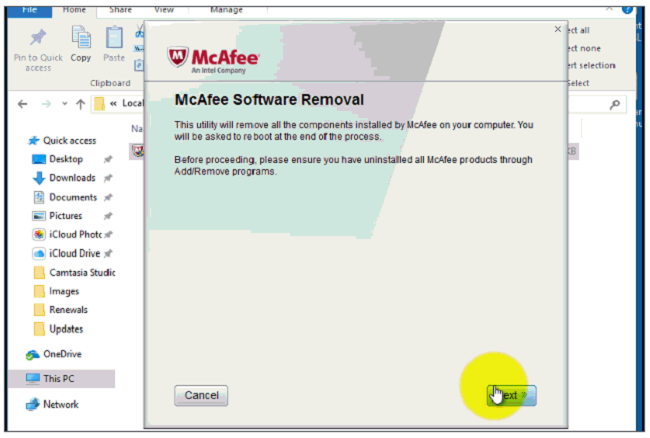 mcaffe software removal