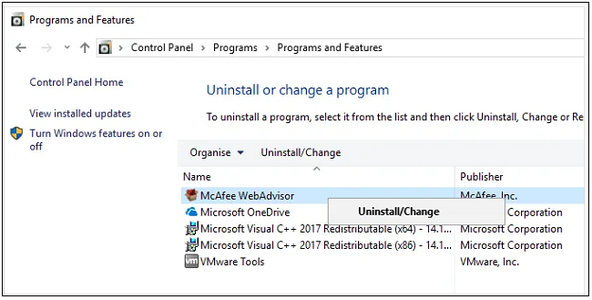 win 10 mcafee removal