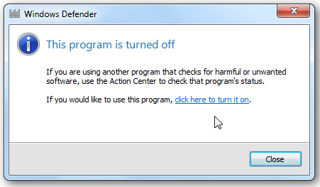 windows defender close in win 7
