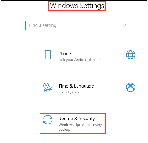 windows setting security updates
