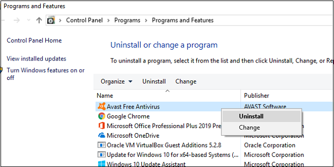 select-avast-file-to-uninstall