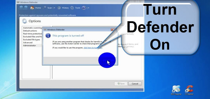 turn on windows defender