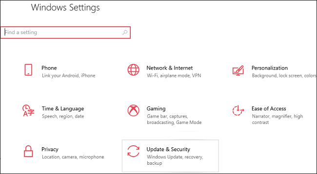 select windows update from update & security