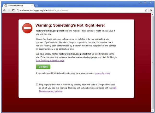 warning suspicious sites