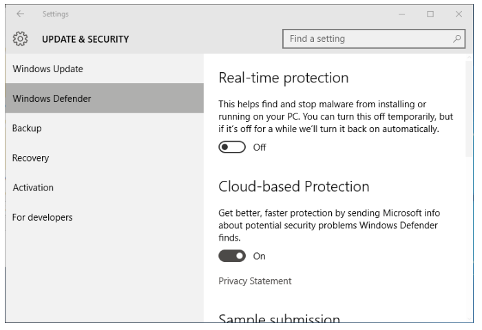windows defender security tab