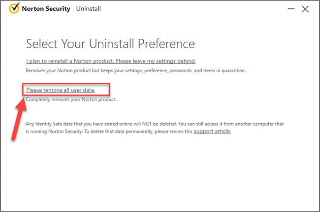 norton uninstall preference